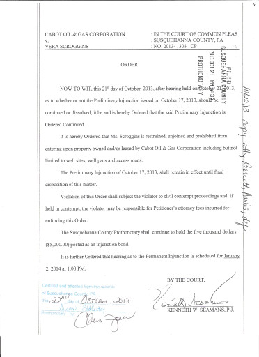 Vera Scroggins Trespass Injunction