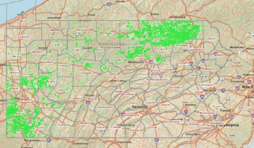Density and Distribution of Unconventional Drilling Permits Throughout Pennsylvania. Source-­‐ PA DEP Oil and Gas Mapping-­‐ Unconventional Gas Wells Only.