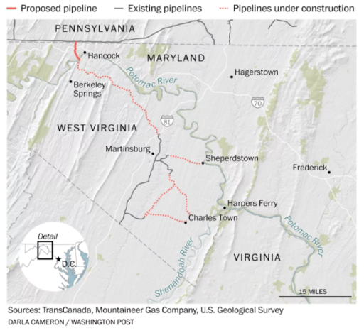 Proposed pipeline for Potomac River