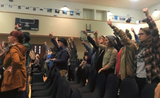 Protesters of the Atlantic Coast Pipeline Hearing